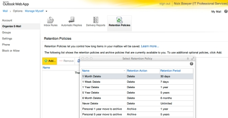 Outlook Web Access - Mailbox Retention