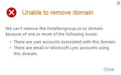 Office 365 remove domain error